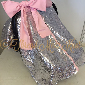 Silver Sequin & Light Pink Car Seat Canopy