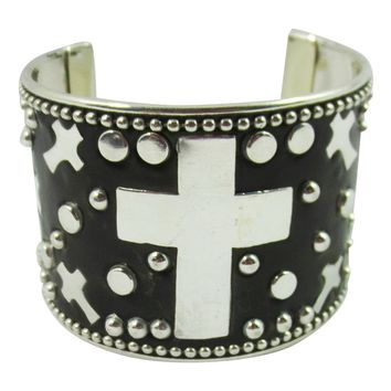 Western Goth Rockabilly Cross and Metal Studded Cuff Bracelet