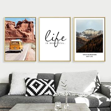 Mountain Bus Travel Wall Art Canvas Painting Life Quotes Landscape Posters Prints Nordic Decoration Pictures Modern Home Decor