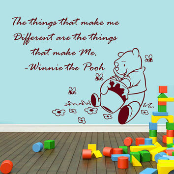 Winnie The Pooh Wall Decals Quote Children Interior Design Vinyl Decal Sticker Art Mural Baby Kids Nursery Room Bedding Decor MR350