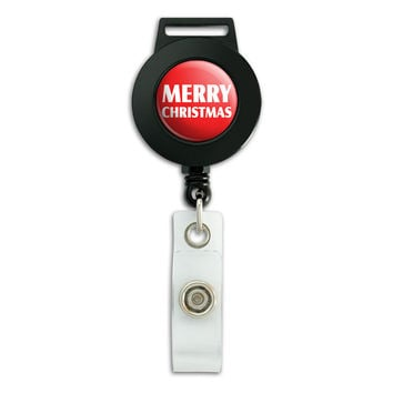 Merry Christmas Bold Retractable Badge Card ID Holder