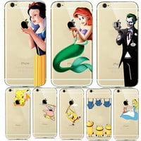 Fashion New Soft TPU Silicone Covers for fundas iphone 7 7plus 6 6S 5 5SE Cartoon Animals Phone Cases Pokemons Mermaid Capinhas