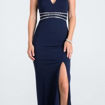 V-Neck Halter Long Formal Dress Navy Blue with Slit