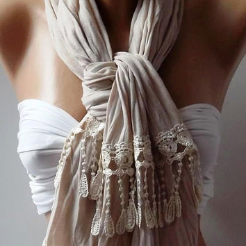 Ivory  Beige / and Elegance Shawl / Scarf