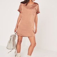 Missguided - Satin Pocket Shift Dress Brown