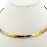 Edforce Stainless Steel Tri-Tone Plated Omega Necklace 6mm Thick