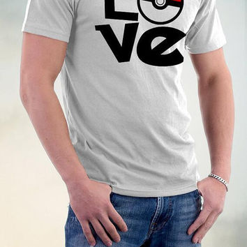 "Grey ""LOVE"" Pokemon Tee Shirt"