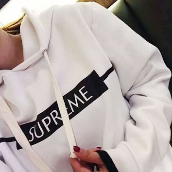 Supreme Fashion Casual Long Sleeve White Letter Print Hooded Crop Tank Sweater G-A-XYCL