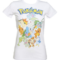 Ladies White Pokemon Characters T-Shirt : TruffleShuffle.com