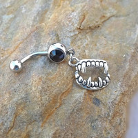 Vampire Teeth Belly Button Ring Body Jewelry Navel Piercing 14 ga Surgical Steel