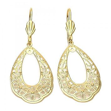 Gold Layered 5.078.005 Dangle Earring, Flower Design, Diamond Cutting Finish, Gold Tone