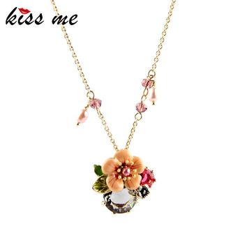 High-end Turkey Jewelry Hot Sale SUNNY BEACH Pendant Necklace Enamel Flowers Factory Wholesale