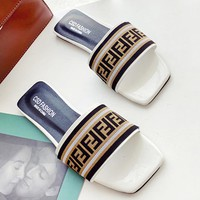 Fendi Fashion New More Letter Sandals Leisure Slippers Women White