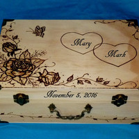 Wedding Guest Box Custom Wedding Keepsake Card Box Wood Burned Suitcase Card Box Personalized Wood Box Wedding Box Memory Box Wood Gifts