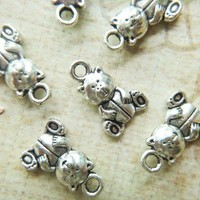 Add On Charm Teddy Bear Silver for your keychain necklace bracelet