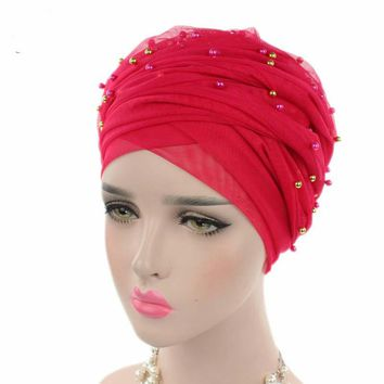 Fashion Women Luxury Solid Gold Beaded Mesh Long Head Wrap Turban Hijab Long Tube Head Scarf Tie Headscarf Ladies Turbante