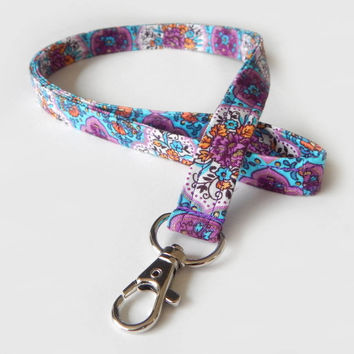 Floral Lanyard / Purple Lanyard / Pretty Keychain / Blue / Key Lanyard / ID Badge Holder / Fabric Lanyard / Flowers