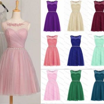 Cheap Bridesmaid Dresses Knee Length Short Formal Party Abendkleider Tulle Pink Blue Purple Bridesmaid Gown Robe De Soiree