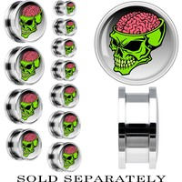 Steel Brainiest Halloween Skull Screw Fit Plug