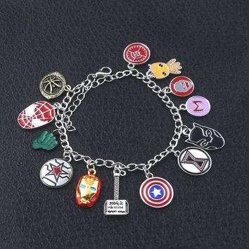 10 pc/lot Avengers Infinity War Charm Bracelet black panther American Captain Iron Man Spider-man Thor's Hammer