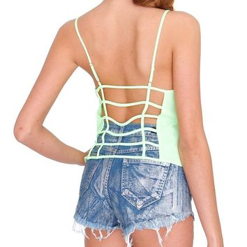 Candy Love Cami Crop Top - Neon Lime