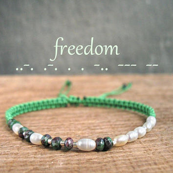 FREEDOM Morse Code Bracelet, stone jewelry, healing, spiritual, good luck, may birthstone, secret message gift, best friend, inspiration