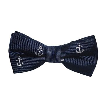 Anchor Bow Tie - White on Navy, Woven Silk, Pre-Tied for Kids