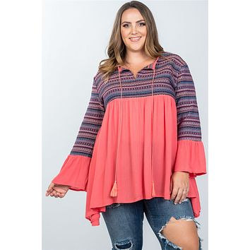 Ladies fashion plus size boho coral tassel tie tribal bell sleeves top