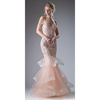 Peach Tiered Mermaid Prom Gown Cold Shoulder