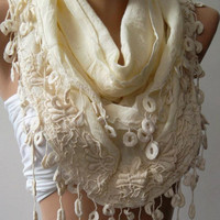 Beige - Elegance Shawl / Scarf with Lace Edge
