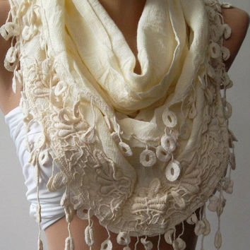 Beige -- Elegance Shawl / Scarf with Lace Edge -Linen- Soft..