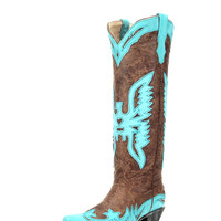 Corral Women's Vintage Brown/Turquoise Tall Eagle Overlay Boot - R2349