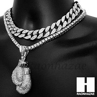 Hip Hop Silver Boxing Glove Miami Cuban Choker Tennis Chain Necklace ES