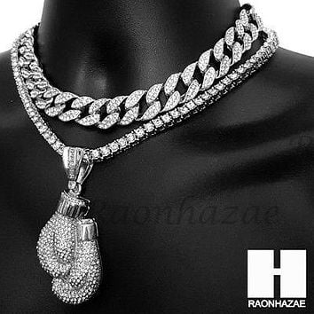 Hip Hop Iced Out Silver Boxing Glove Miami Cuban Choker Tennis Chain Necklace ES