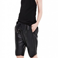 LEATHER TRACK SHORT