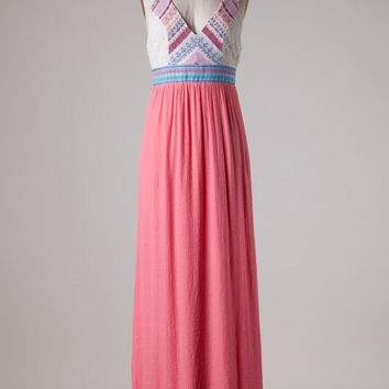 Embroidered Peach Maxi Dress