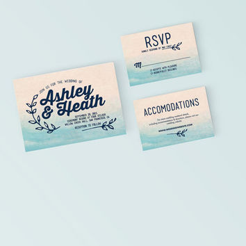 Printable Wedding Invitation Set - Classic Simple Watercolor  Invite, RSVP, Details Card - DIY Digital Ready to Print