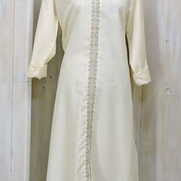 Vintage 60s 70s Kaftan dress / size L XL / Long off white tunic dress /  boho hippie loose fit maxi festival dress / Rothmans Ethnic Wear