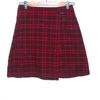 Vintage 90s Red Plaid Tartan A Line High Waist Mini Skirt 1990s Pastel Grunge Clueless - S Small