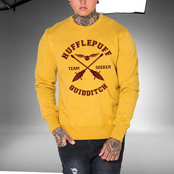 Hufflepuff Quidditch Harry Potter Sweatshirt Grey, White and Yellow Color Unisex Sweatshirts