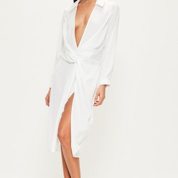 Missguided - White Slinky Wrap Over Midi Dress