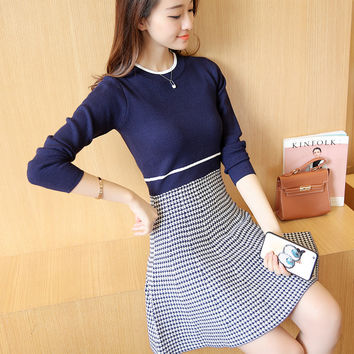 50 Korean women fall fashion slim color cotton Crewneck sweater Houndstooth dress F1391 thickening