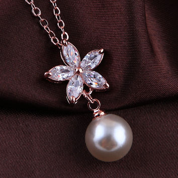Flower Crystal Pearl Rose Gold Plated Fashion Pendant Jewelry