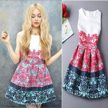 Summer O-neck Florals Print Pleated A-line Dress = 1901213700