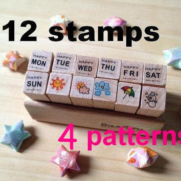 wooden rubber Stamper Set Diy baby card deco diary Cute 7days Cartoon icon Calendar weather monday to sunday schedule diary entertainment