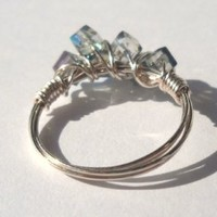 925 Sterling Silver Wire Crystal Ring 925 Sterling Silver Wire Iridescent Light Green & Light Blue Swarovski Crystal Cube 3.5x3.5 mm Size 8 Handmade,Brand new