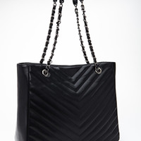 FOREVER 21 Quilted Chevron Tote Black One