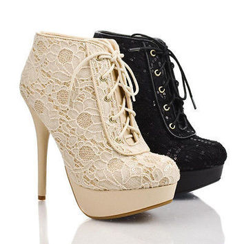 Covina90 by Bamboo, Crochet Sequin Glitter Accent Lace Up Platform Stiletto Booties