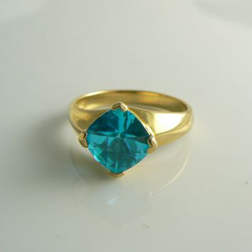 Apatite 14k over sterling solitaire ring