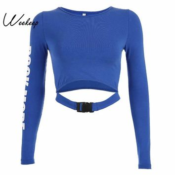 Weekeep Women Cropped Hollow Out Buckle t shirt Blue Letter Print O-neck tshirt Fashion Streetwear Long Sleeve Crop Top